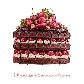 Chocolate creamy cake with berries
