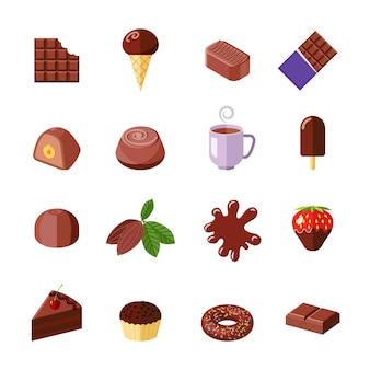 Chocolate sweet icons collection