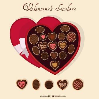 Chocolates heart-shaped box