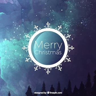 Christmas abstract background of watercolor landscape