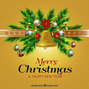 Christmas and new year background with ornaments