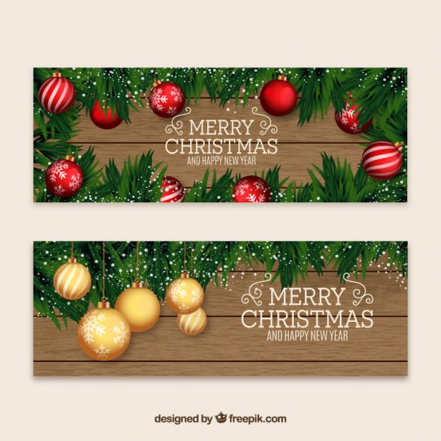 Christmas and new year banners with baubles
