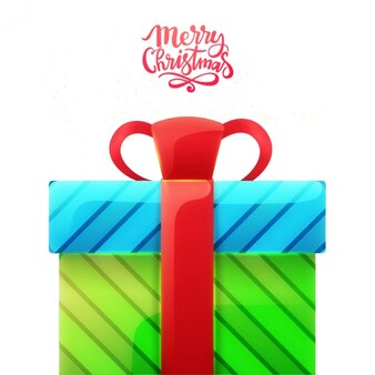 Christmas background of blue and green gift