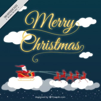 Christmas background of santa claus with sleigh