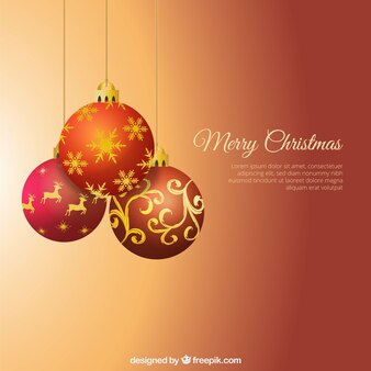 Christmas background with  hanging christmas balls