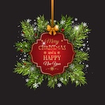 Christmas background with a red hanging label