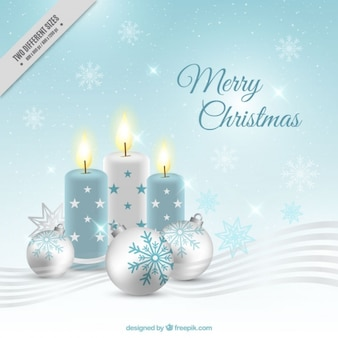 Christmas background with candles and baubles