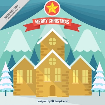 Christmas background with church in flat design