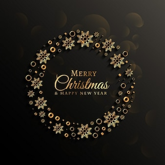 Christmas background with elegant wreath of snowflakes