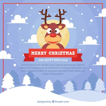Christmas background with funny reindeer