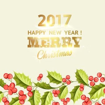 Christmas background with gold lettering