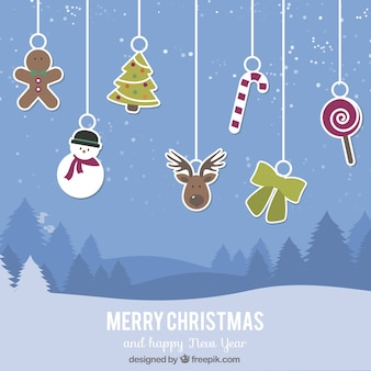 Christmas background with hanging cute elements