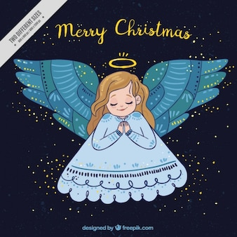 Christmas background with pretty hand drawn angel