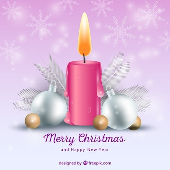 Christmas background with realistic candle