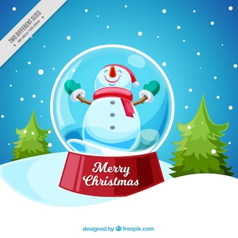 Christmas background with snowman with gloves