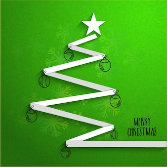 Christmas background with tree-shaped ribbon