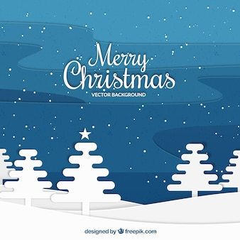 Christmas background with trees in flat design