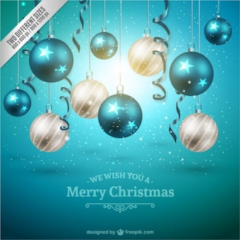 Christmas background with white and blue baubles