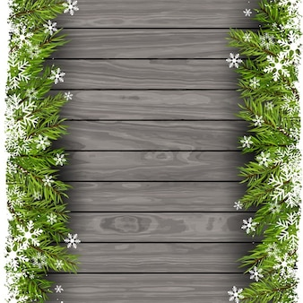 Christmas background with wood