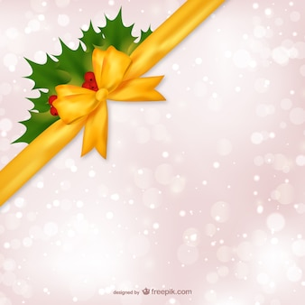 Christmas background with yellow ribbon