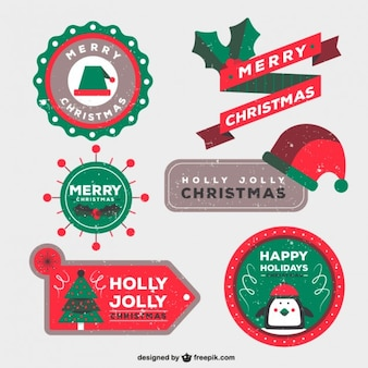 Christmas badges in stamped style