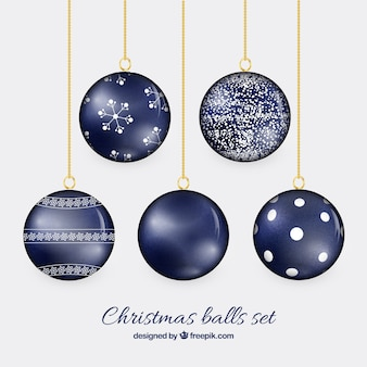 Christmas balls in navy blue color