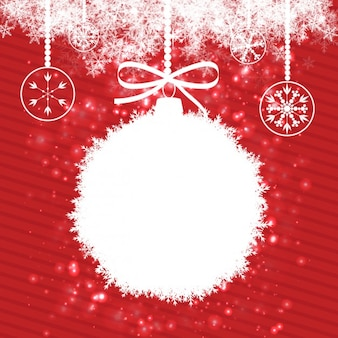 Christmas balls on striped red background