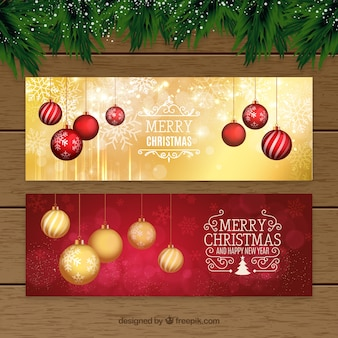 Christmas banner with baubles