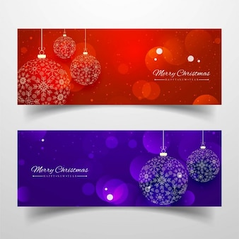 Christmas banners, red and purple colors