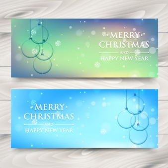 christmas banners with crystal baubles