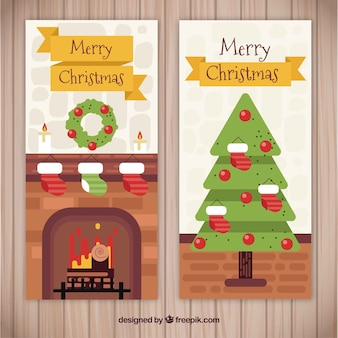 Christmas banners with fireplace and tree