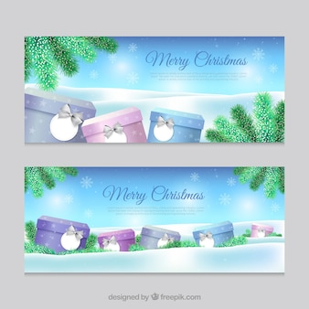 Christmas banners with gifts and snowflakes in realistic style