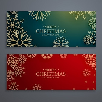 Christmas banners with golden snowflakes