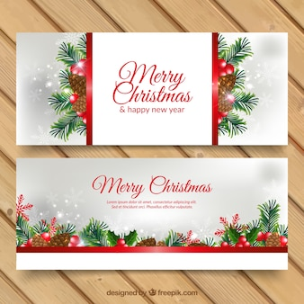 Christmas banners with pinecones and branches
