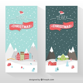 Christmas banners with snowy landscape