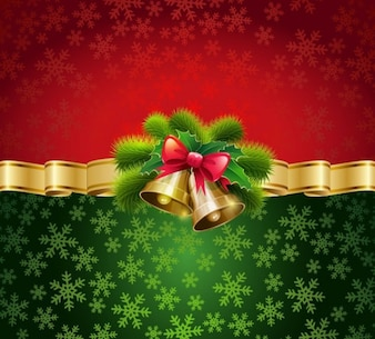 Christmas bells on red and green background