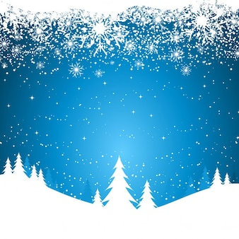 Christmas blue background with white snow flakes