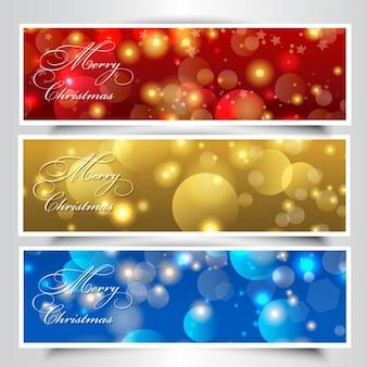 Christmas bokeh banners collection