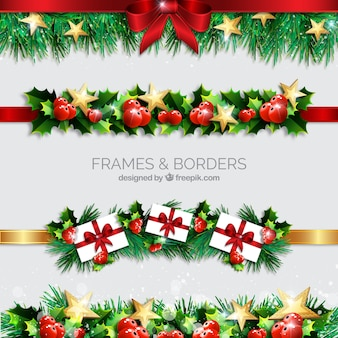 Christmas borders realistic style