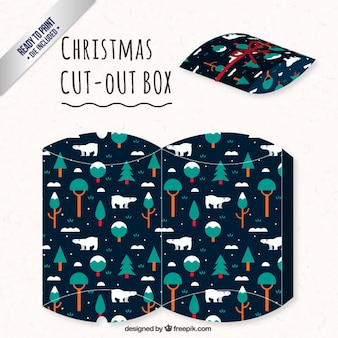 Christmas box with trees and polar bears