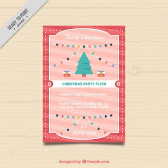 Christmas brochure template with a tree and decorative lights