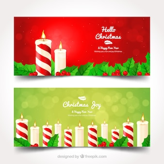 Christmas candle banners