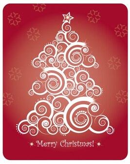 抽象的なクリスマスツリーとクリスマスカード
