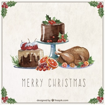 Christmas card with christmas food