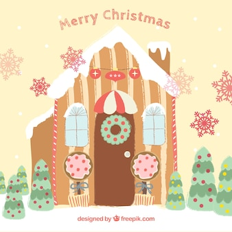 Christmas card with cute gingerbread house