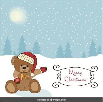 Christmas card with cute teddy bear