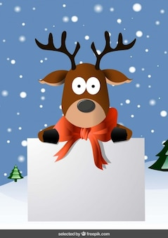 Christmas card with funny reindeer