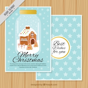 Christmas card with gingerbread house in a jar