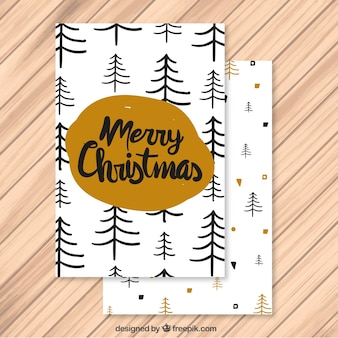 Christmas card with hand drawn pines