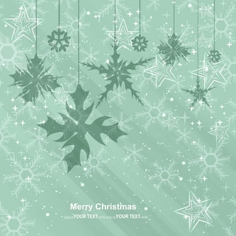 Christmas card with hanging snowflakes